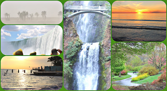 Splendor of nature from waterfalls, sunsets, ocean, sandstorms, and spring mountain days