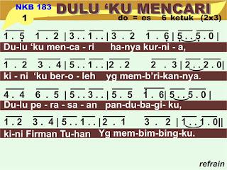 Lirik dan Not NKB 183 Dulu 'Ku Mencari