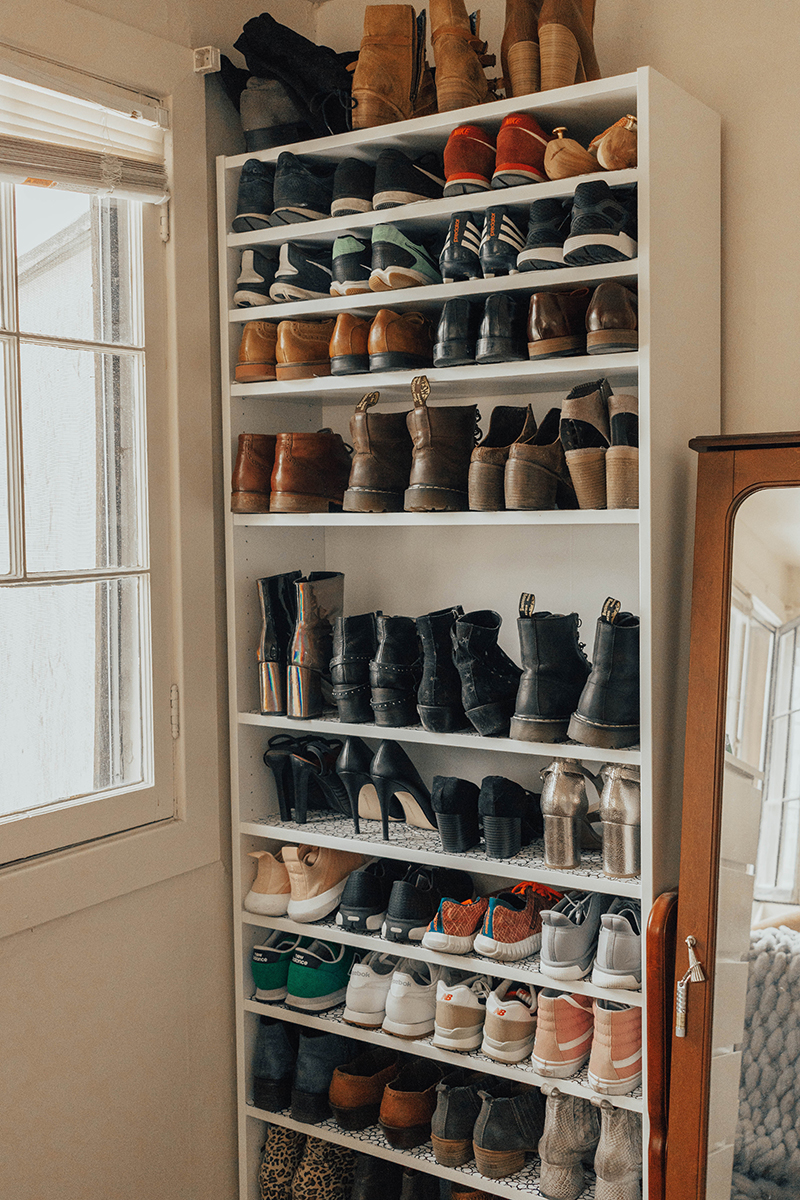 how to organize your shoes, store your shoes, small apartment tips and tricks