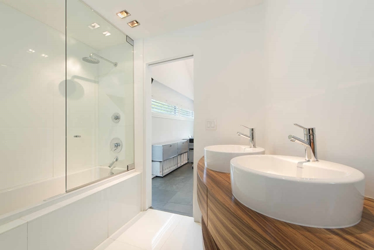 Two sink bathroom in Modern mansion in Miami