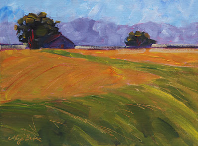 amber waves barn and plains oil painting by Mary Benke