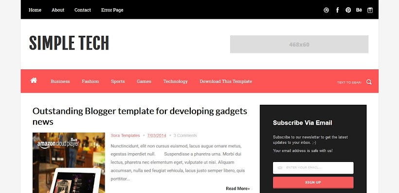Simple Tech Free Blogger Template