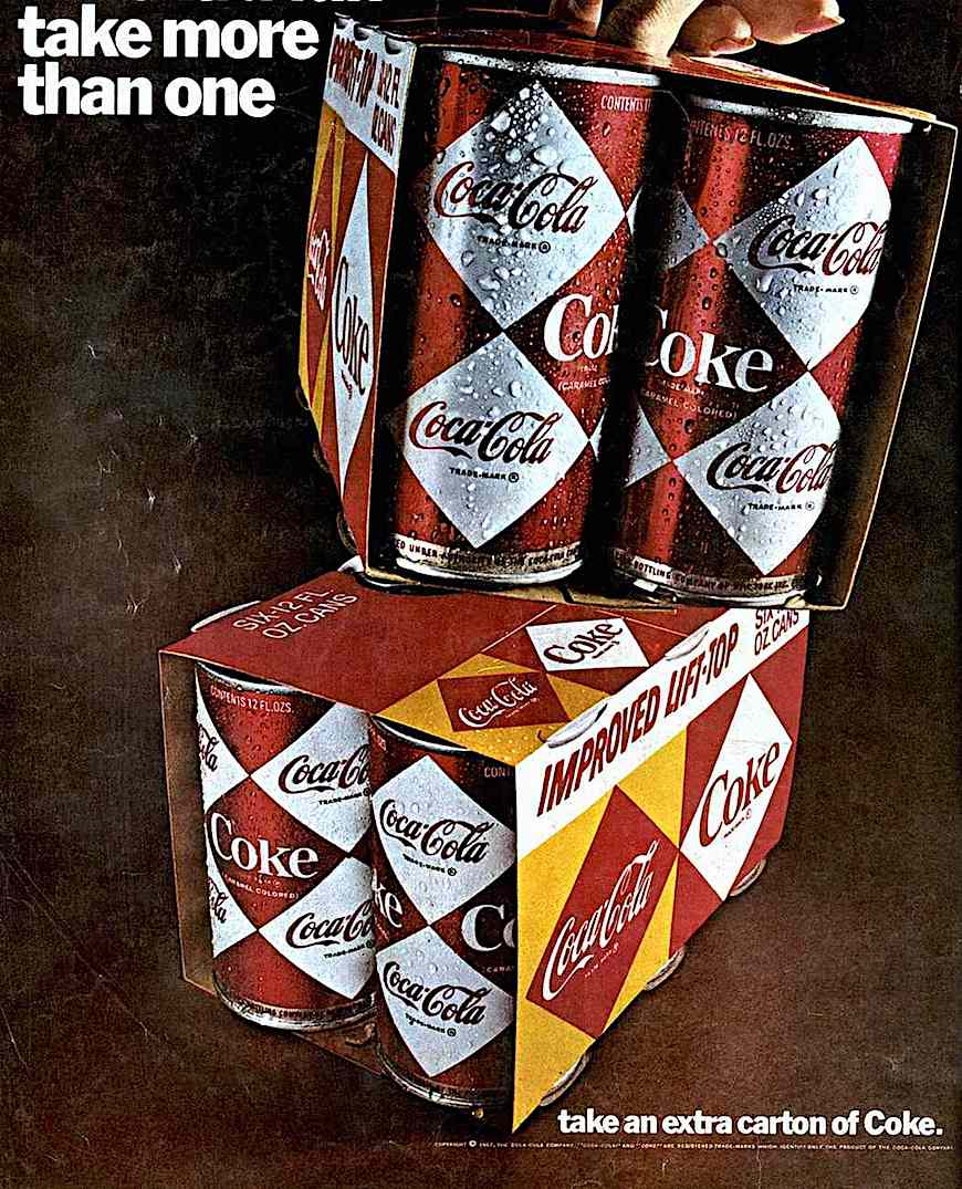 1976 Coca Cola cans six pack, a color advertising photograph