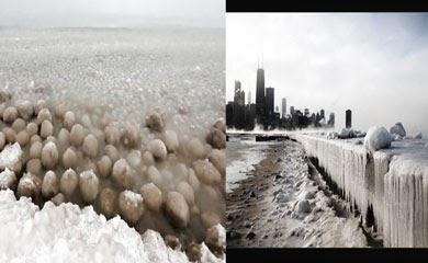 bolas de hielo lago