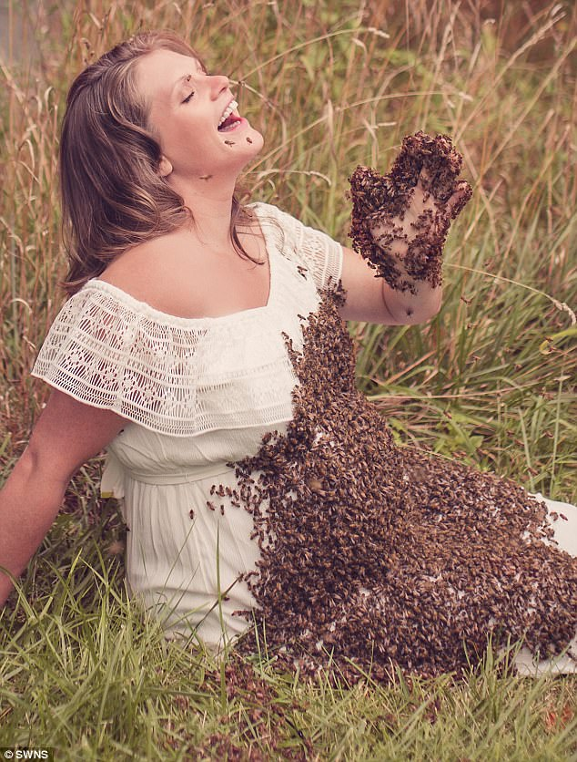 Image result for Pregnant Woman Who Posed With 20,000 Bees On Baby Bump In Viral Maternity Shoot Suffers Stillbirth