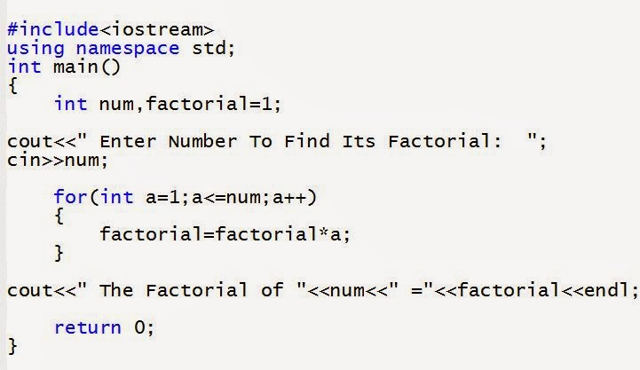 Program to find factorial of Number in C++ ~ C++ Programming