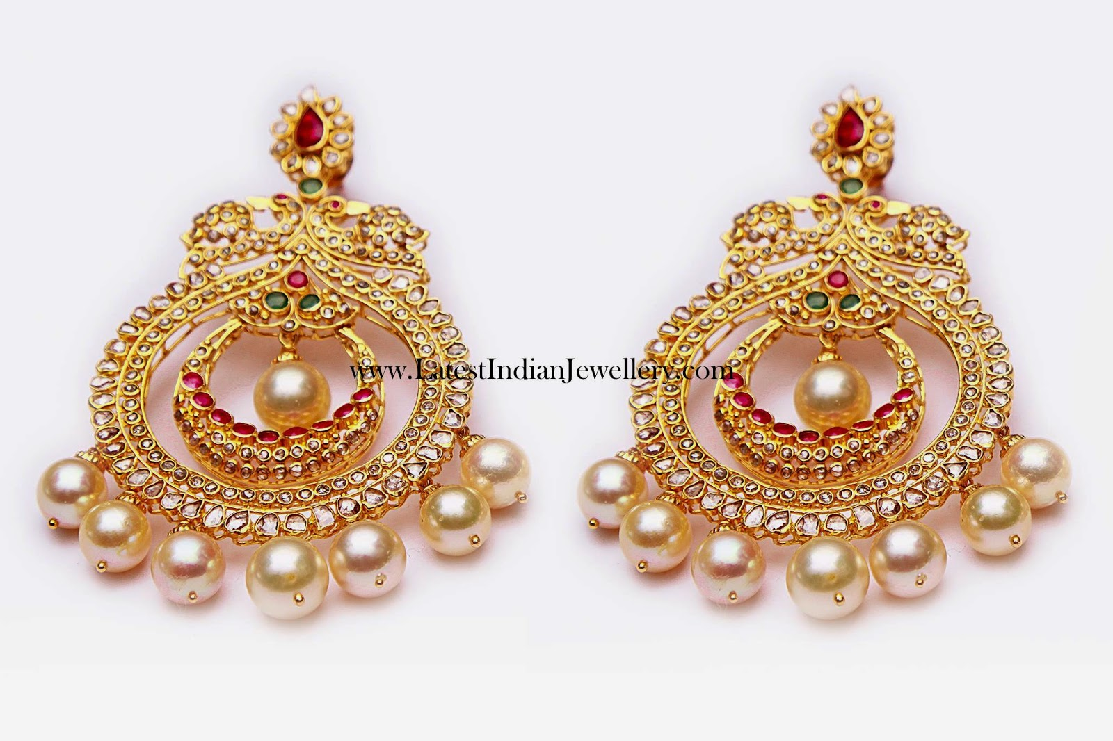 Uncut Diamond Chand Bali Earrings