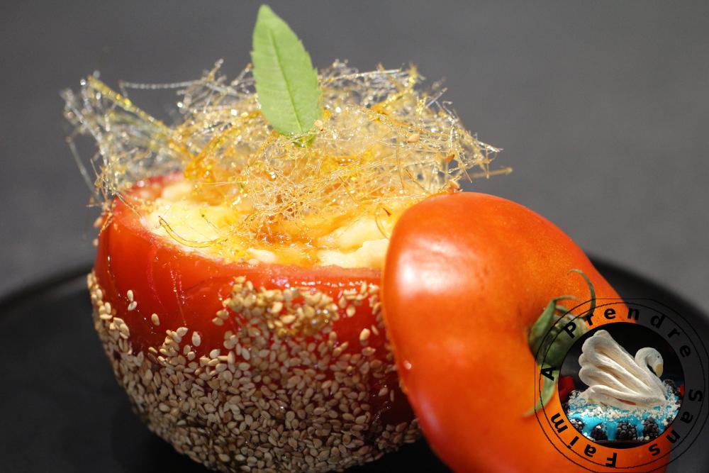 Tomates farcies au riz au lait et confiture de tomates