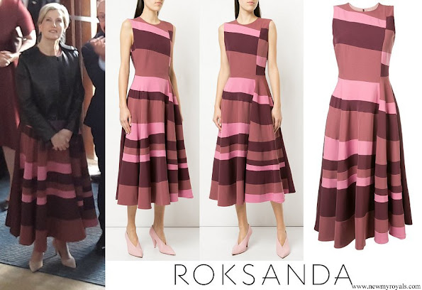 Countess Sophie wore ROKSANDA sleeveless flared stripe dress