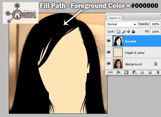 hasil fill path dari pola vector rambut yang telah dibuat - tutorial membuat vector di photoshop - membuat foto menjadi kartun dengan photoshop