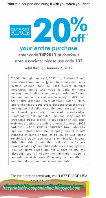 Childrens place coupons in store 2019