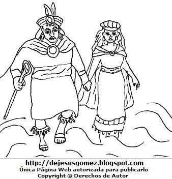 Ilustración de Manco Capac y Mama Ocllo en el Lago Titicaca para colorear, pintar e imprimir. Dibujo de Manco Capac y Mama Ocllo hecho por Jesus Gómez