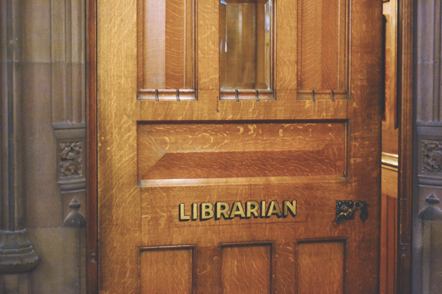 Librarian door at John Rylands Library