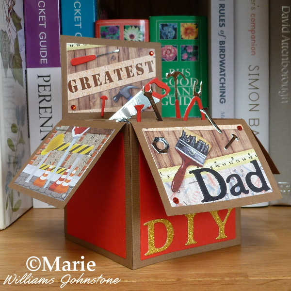 Completed Dad DIY Pop Up Box Card Die Cut Cards Fathers Day Men Man Handmade Craft
