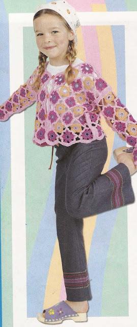 Patrón #1174: Saco Multicolor a Crochet