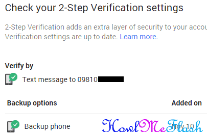 2step verification settings