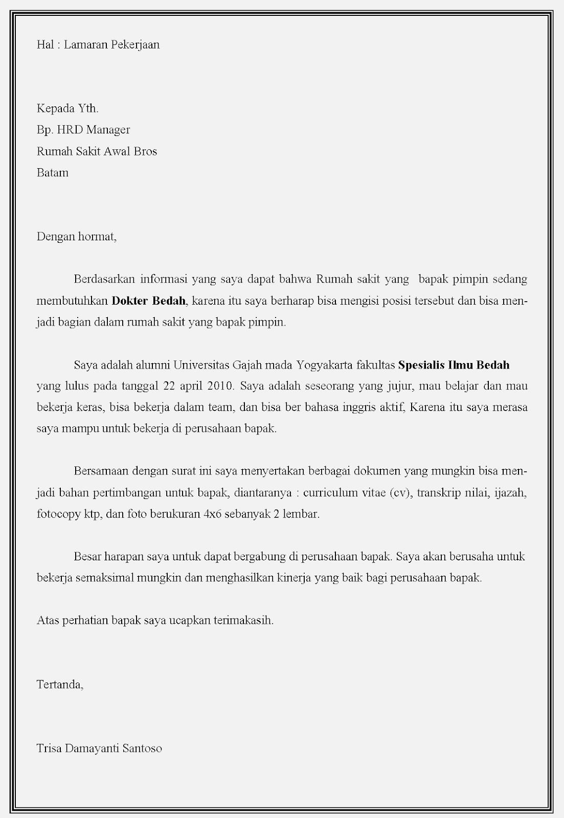 Contoh surat lamaran kerja dokter bedah