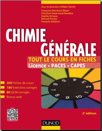 Livre : Chimie générale - Tout le cours en fiches Licence, PACES, CAPES + site compagnon