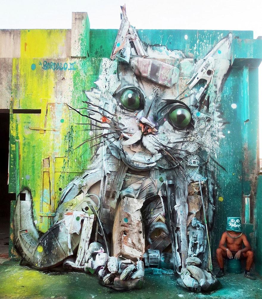 Kucing - Seni Lukisan Binatang Menakjubkan Dan Kreatif Dari Bahan Sampah