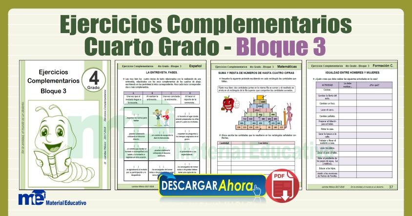 Ejercicios Complementarios Cuarto Grado Bloque 3 Materiales Educativos Gratis