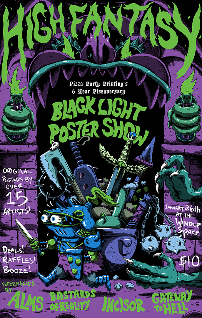 Heres My 4 Colour Day Glo Screen Printed Poster AXE STRONAUT For The Show HIGH FANTASY BLACK LIGHT POSTER SHOW