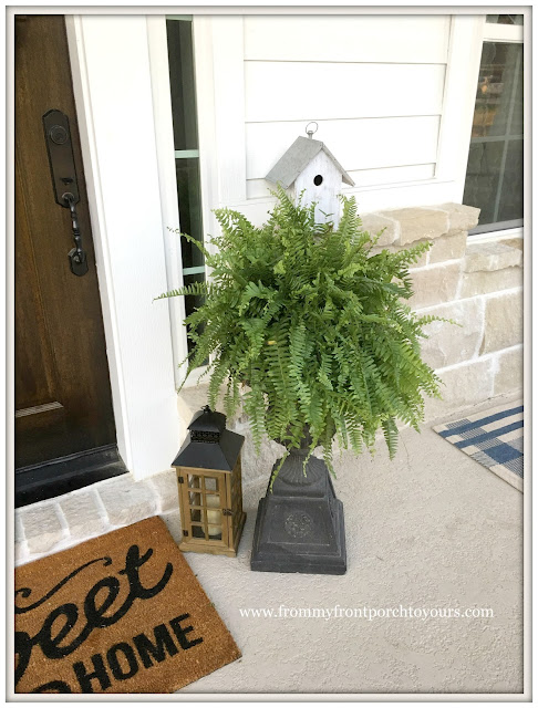 Suburban Farmhouse Front Porch-Birdhouse-fern-urn-lantern-porch decor-From My Front Porch To Yours