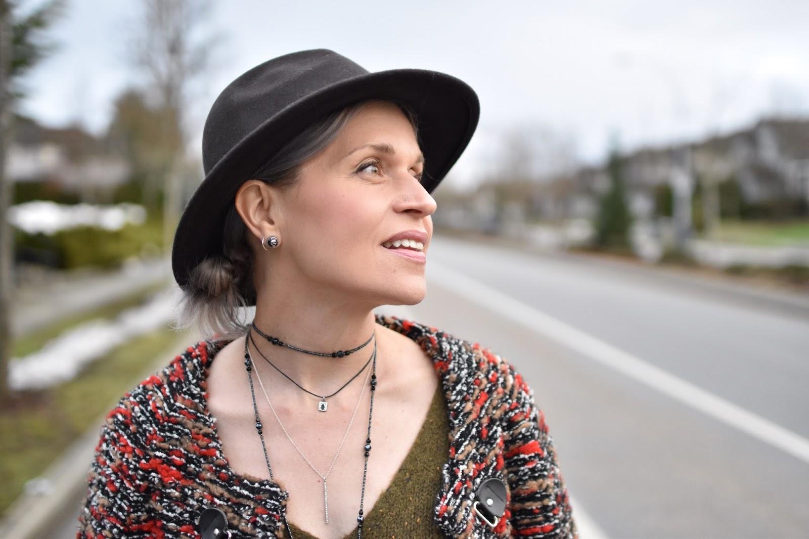 Monika Faulkner outfit inspiration - layered necklaces, felt fedora