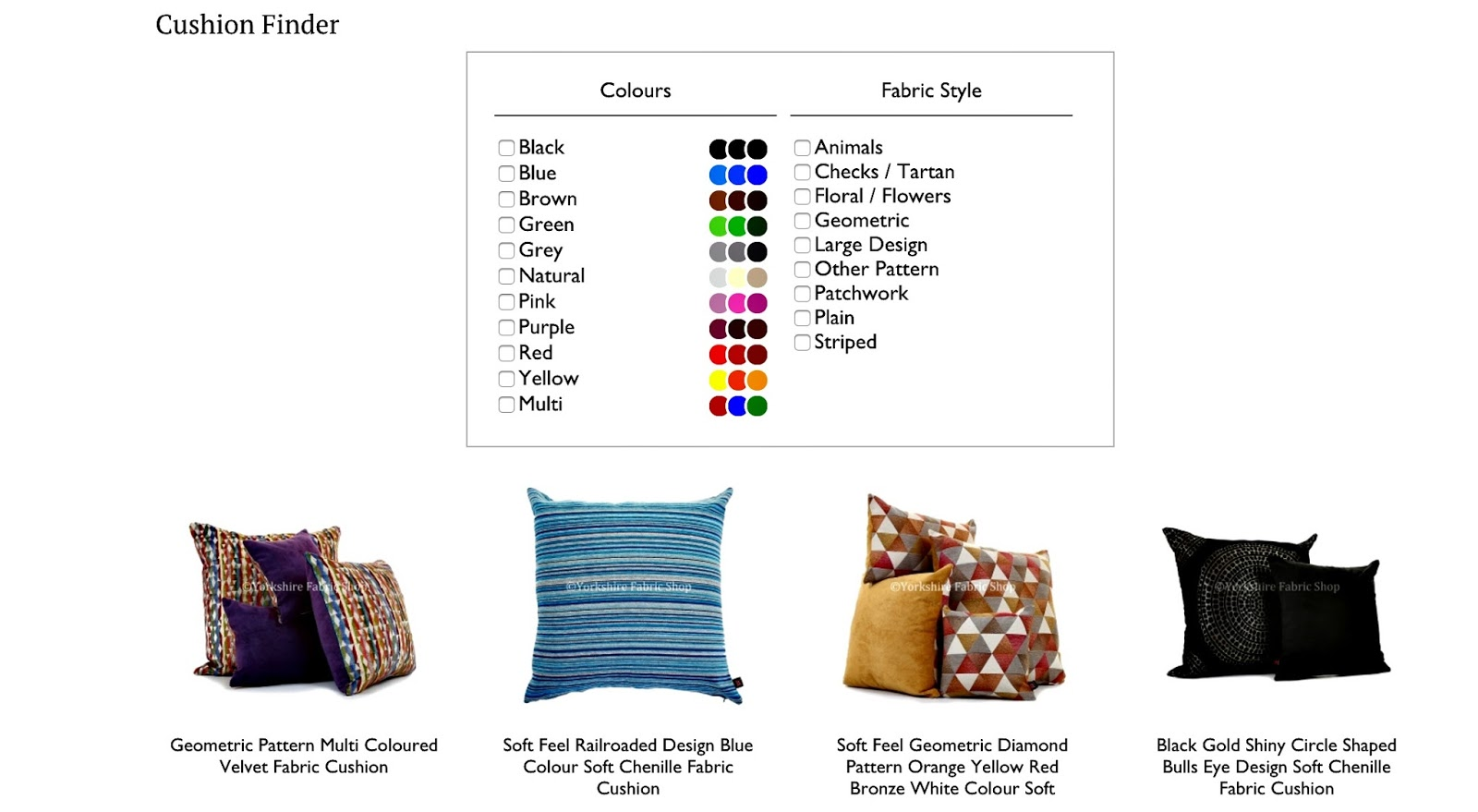 Yorkshire Fabric Shop cushion finder