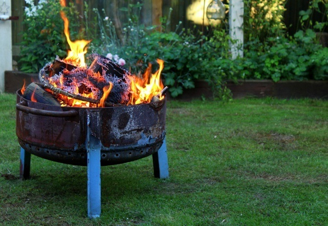 our handmade upcycled fire pit lazy daisy jones. Black Bedroom Furniture Sets. Home Design Ideas