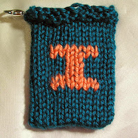 Knitted I, monogram I, gift card holder