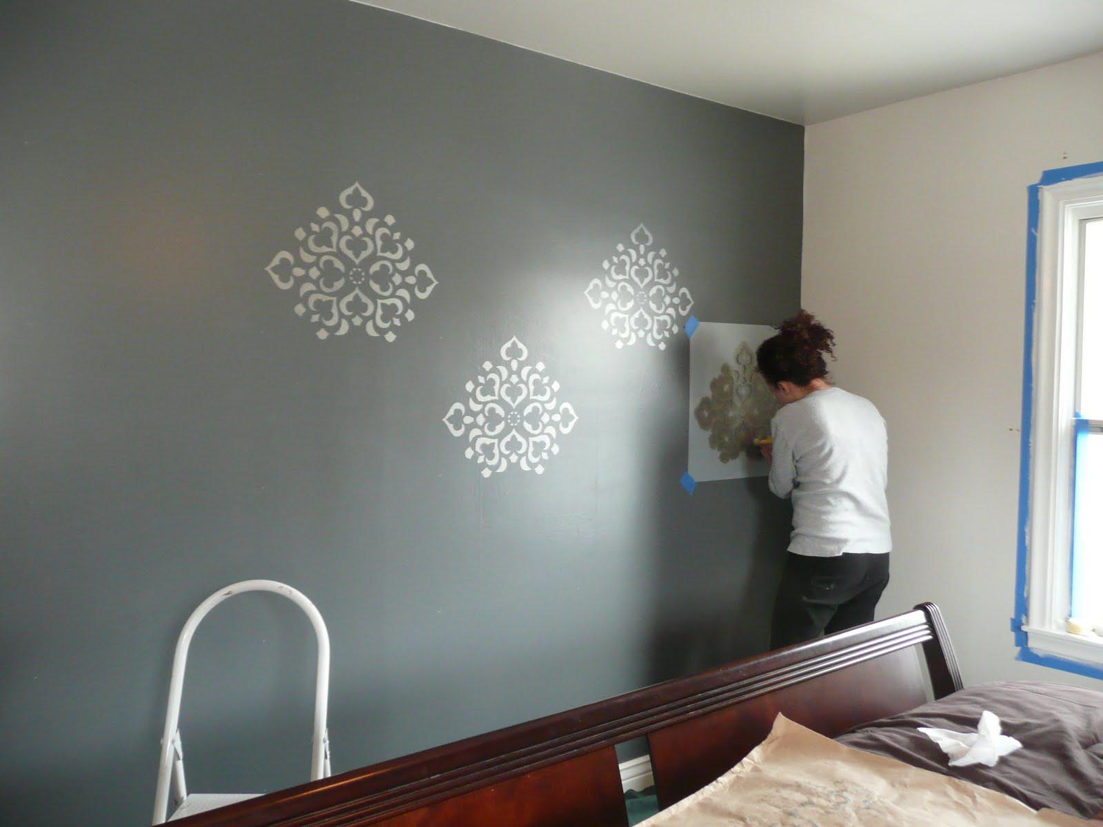 Remodelaholic stenciled wall master bedroom stenciled wall master bedroom amipublicfo Choice Image