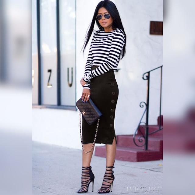 Στυλάτη μίντι μαύρη φούστα LOLA BLACK