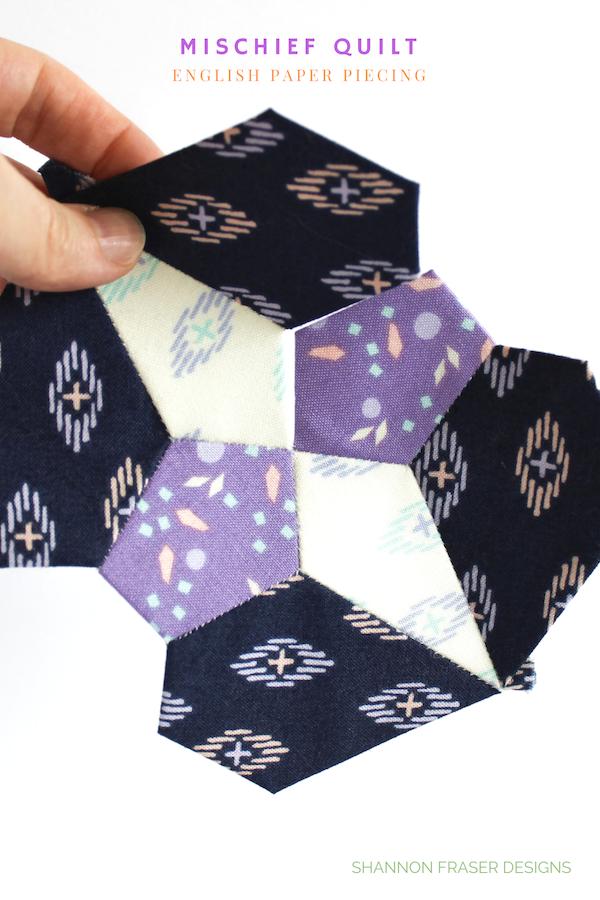 Mischief Quilt English Paper Pieced Block   Q4 2018 FAL   Shannon Fraser Designs
