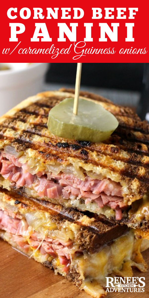 Corned Beef Panini with Caramelized Guinness Onions pin for Pinterest