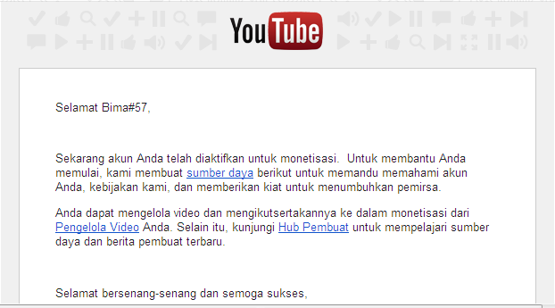 E-mail dari YouTube