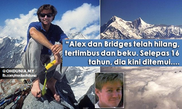 Mayat Pendaki Hilang Sejak 16 Tahun Ditemui Semula, Alex Lowe