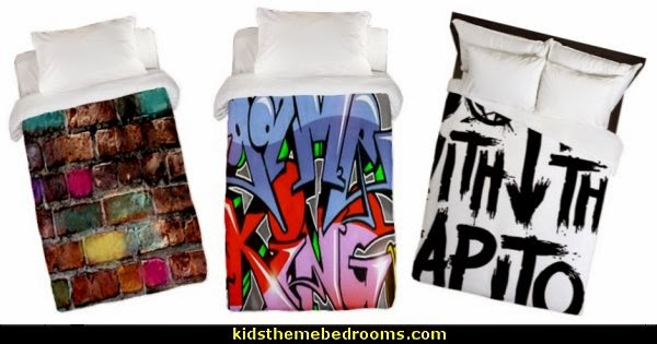 Graffiti Bedding Graffiti wall murals - Urban style punk theme bedroom ideas - skateboarding theme bedroom decorating -  Urban wall Murals - graffiti wallpaper murals - graffiti wall designs - graffiti bedrooms furniture -
