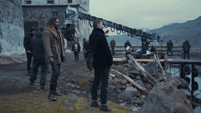 Zack Snyder durante el rodaje de la Liga de la justicia junto a Jason Momoa (Aquaman)