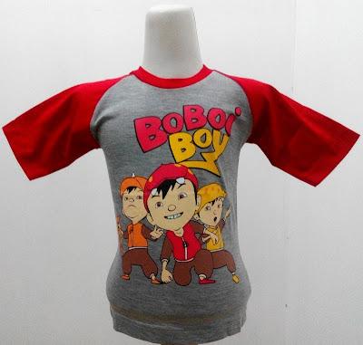 Kaos Raglan Anak Karakter Boboiboy 5 dan Teman Abu-Abu