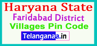 Faridabad District Pin Codes in Haryna State