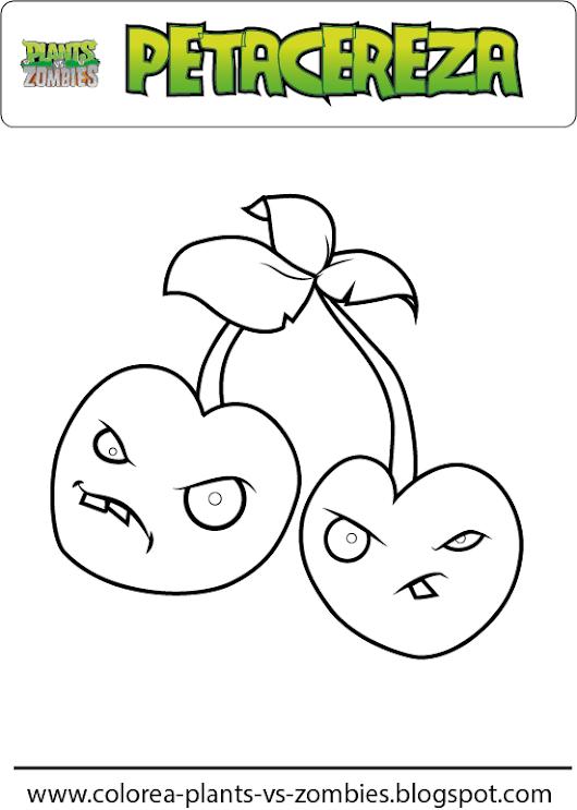 plants vs zombies petacereza para colorear dibujo de petacereza