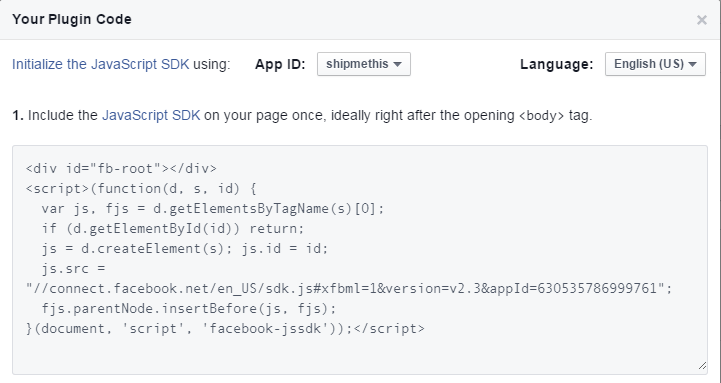 FB developers Page plugin page Script