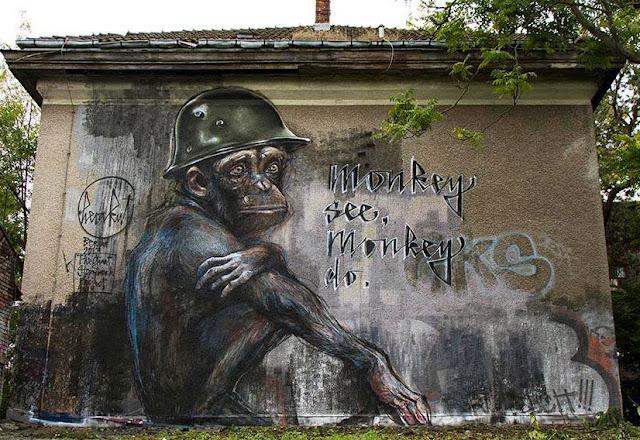 """German Street Art Duo Herakut Newest Mural """"Monkey See, Monkey Do."""" In Berlin. 1"""
