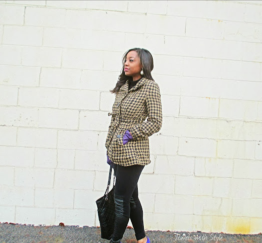 houndstooth coat, M Renee Design, black fashion blogger, style blog, H&M leggings, leather leggings, Jewels with Style