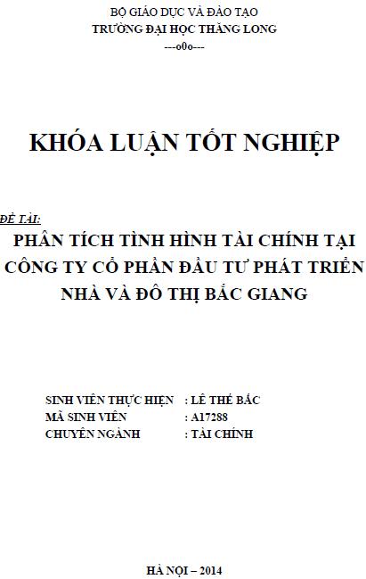 Phân tích tình hình tài chính tại Công ty Cổ phần Đầu tư Phát triển Nhà và đô thị Bắc Giang