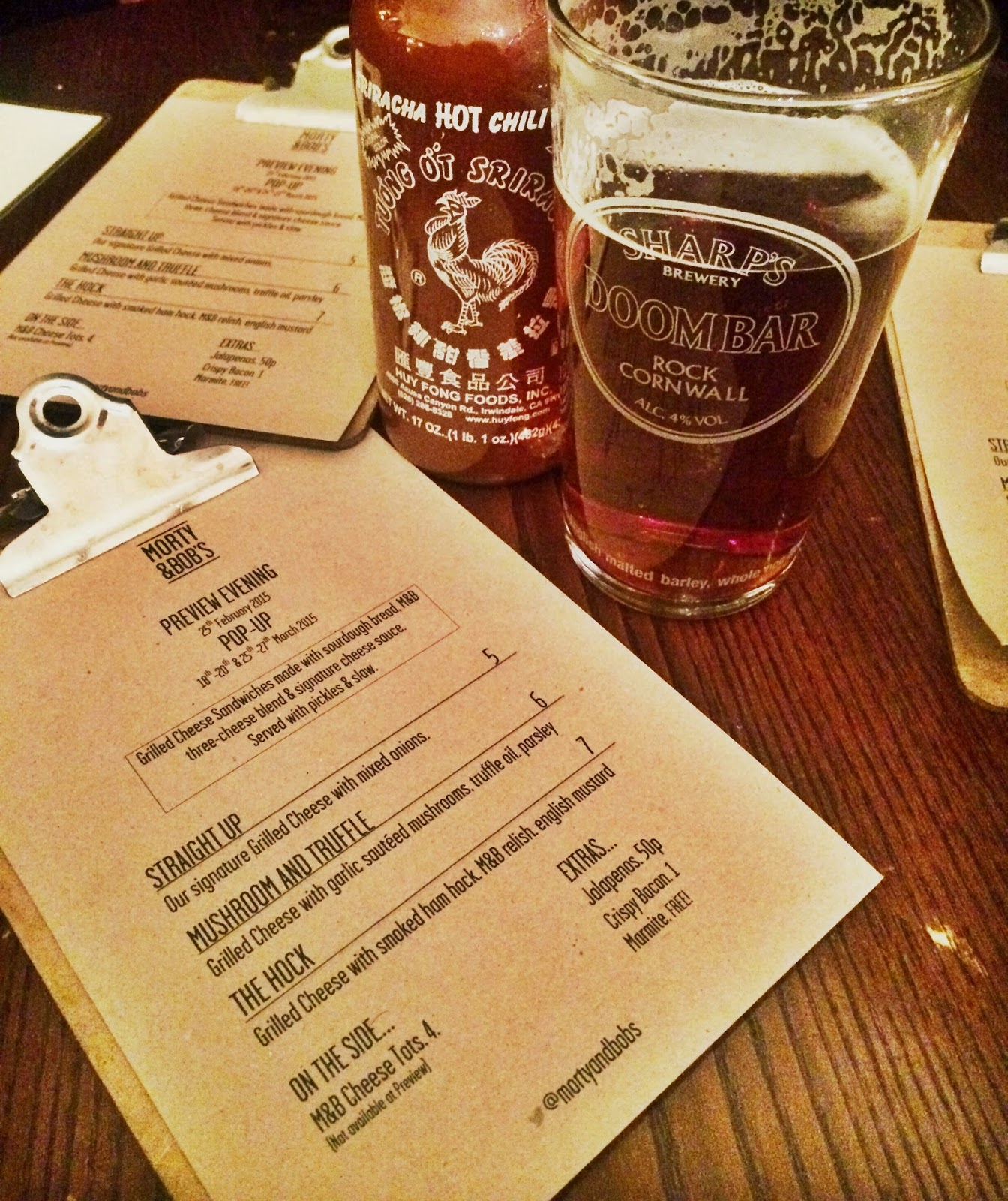 food menu pint of beer