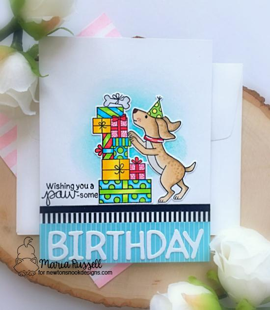 Dog Birthday Card by Maria Russell | Paw-some Birthday Stamp Set and Essential Alphabet Die Set by Newton's Nook Designs #newtonsnook #handmade