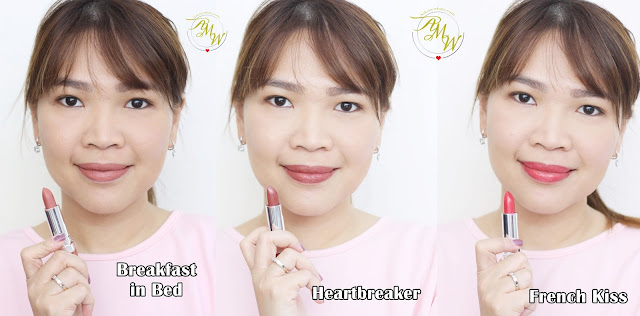 a photo of Nikki Tiu wearing Pink Sugar Creamy Matte Lipsticks review in shades Heartbreaker, French Kiss and Breakfast in Bed.