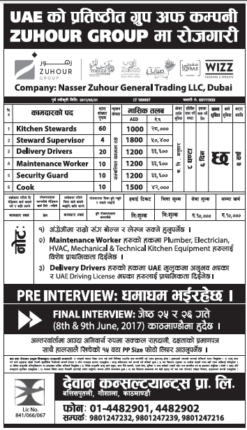 Jobs in UAE for Nepali, Salary Rs 50,400
