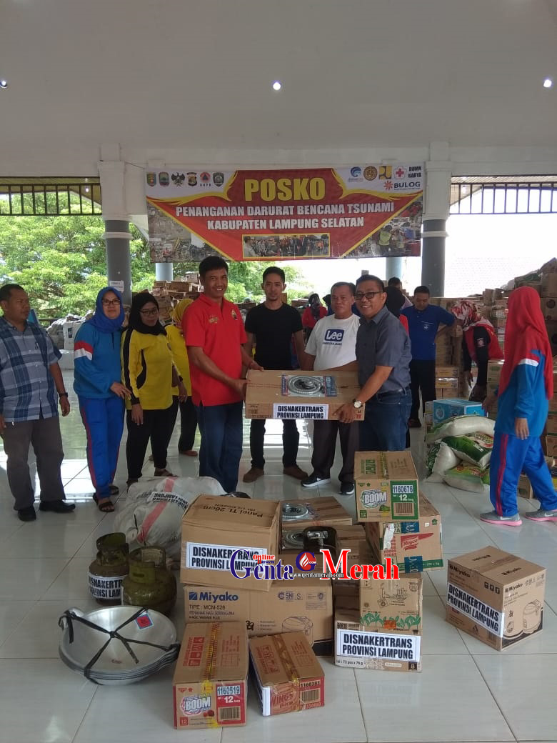 Disnakertrans Provinsi Lampung Glontorkan Bantuan Korban Tsunami Dua Kabupaten